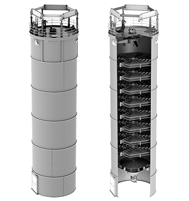 Vertical crystallizer with moving surface